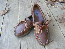 ROCKPORT BOAT SHOES, Brown Leather Classic Two-eye Boat Shoes Size 7 M