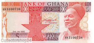 Ghana 5 Cedis 1980 Unc Pn 19b