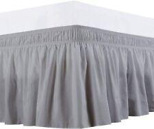 Resort Sateen Wrap Around Bed Skirt Three Side fiber Extra Size(Light grey)