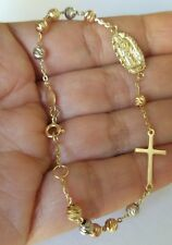 """14k Solid 3 color Yellow Gold Rosary Beads virgin Mary Cross bracelet 7-735"""" lng"""