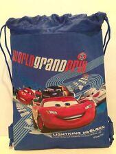Disney Cars World Grand Prix Lightning McQueen Blue SLING BACKPACK / BAG SACK