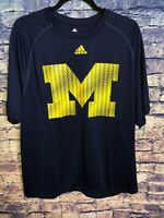 Michigan Wolverines Navy Blue  Adidas Yellow Primary M Logo T-Shirt Mens Size L