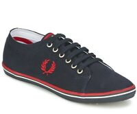Fred Perry Kingston Twill Plimsolls Trainers Pumps Casual Shoes B6259-608 Navy