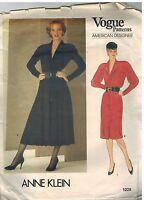 1228 Vintage Vogue Sewing Pattern Misses Button Front Dress Anne Klein OOP 10