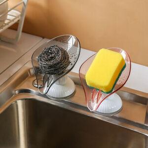 Rotatable Soap Dish Holder Suction Cup Tray Drain Storage Plate Bathroom Kitchen