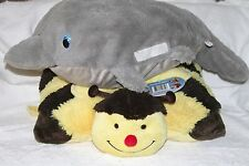 Lot of 2 Stuffed Plush Pillows Bumble Bee Pillow Pet NWT & Super Soft Dolphin