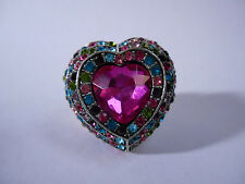 Large Heart Shaped Stretch Ring Pink Jewel Statement Bright Multi Rhinestone
