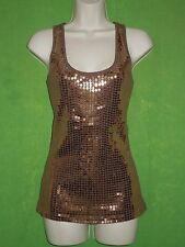 Express top tank cami tunic size M sleeveless cotton brown gold sequins