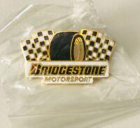 Bridgestone Motorsport Pinback Racing Tires Enamel Black White Metallic Gold NIP