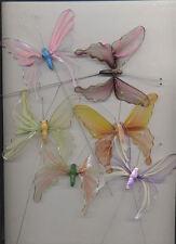 6 Papillons transparents Colorés sur pic decoration de salle de table fetes