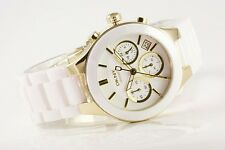 DKNY WHITE GOLD CERAMIC STAINLESS STEEL CHRONOGRAPH WOMEN'S WATCH NY4913