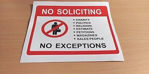 NO SOLICITING PVC Sticker - Charity Politics Religion Petitions Magazine Sales