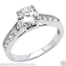 1.75 Ct Round Cut Engagement Wedding Ring Cathedral Setting Solid 14K White Gold