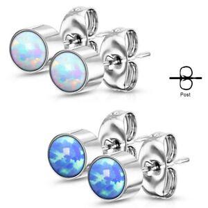 Pair of Round Opal Bezel Set 316L Stainless Steel Stud Earrings - 3mm 4mm 5mm
