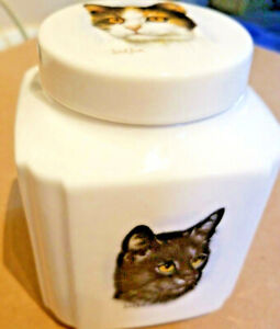 Cat Treat Jar  Canister Container Porcelain New