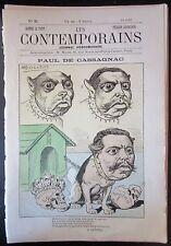 RARE CARICATURE JOURNAL LES CONTEMPORAINS N° 26 de 1881 PAUL DE CASSAGNAC