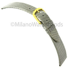 19mm T&C Genuine Turned Edge Lizard Gray Flat Unstitched Mens Watch Band Strap