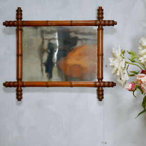 Antique French Faux Bamboo Mirror