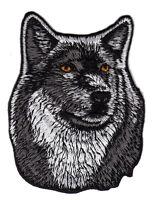 au55 Wolf Hund Kopf Tier Dog Aufnäher Bügelbild Patch Applikation 7,3 x 9,3 cm