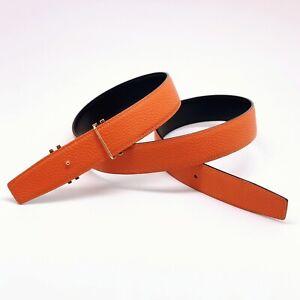 Handmade 32mm Reversible leather belt Orange Size 85,90,Free Shipping