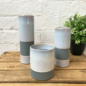 Ceramic Two Tone Blue Home Flower Plant Decorative Indoor Planter Vase CLEARANCE