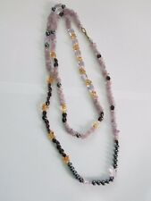 "48"" long necklace made up of various gemstones: amethyst, amber & hematite"