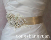 Cheap Bridal Sash Satin Rhinestone Pearl Applique Flower Bow Wedding Dress Belts