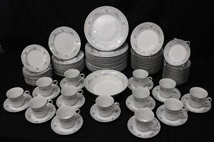 95 Pc American Limoges Fine Porcelain China BRIDAL BOUQUET Service for 12+ (96)