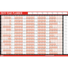 Tallon 2019 A1 Large Year Wall Planner( Red ) with Pen & Stickers-3805