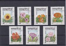 KAMPUCHEA 1983 FLEURS 7 TP  OBLITERE YT 419 A 425