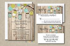 100 Personalized Rustic Mason Jar Wedding Invitation Set  with Envelope