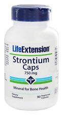 Gorras de estroncio, minerales para la salud de los huesos, 750 MG, 90 Veg Caps-extensión de la vida