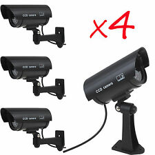 4 x IR Bullet Fake Dummy Surveillance Security Camera CCTV & Record Light Black