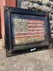 1900s Victorian DRIED FLOWER American Flag DIORAMA Folk Art shadow box Country