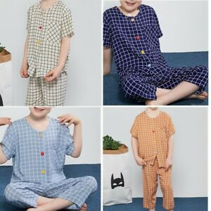 Boys Girls Pajamas Set Top+Cropped Trousers Elastic Waistband Sleepwear Outfits