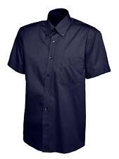 "Uneek Uc702 Mens Pinpoint Oxford Weave Short Sleeve Shirt Button Down Collar XL 17.5"" Navy"