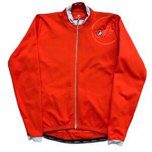 Castelli Scorpio Long Sleeve Cycling Jersey Full Zip Orange Mens Size 2XL