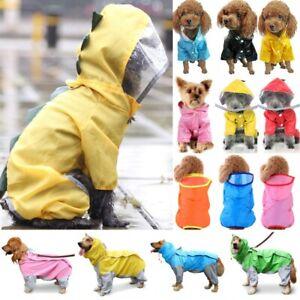 Puppy Pet Raincoat Dog Cat Waterproof Hoodie Rain Coat Jacket Clothes Costume