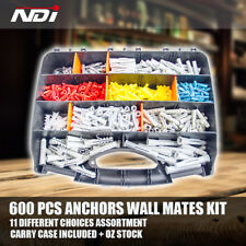 600 PCS Wall Mate Plasterboard Anchors Wall mate Nylon Anchor Assortment Kit