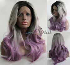 Sexy Ladies Long Ombre Grey Purple Lace Front Curly Hair Heat Resistant Full Wig