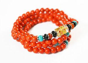 "Tibet Buddhist 108 Red Turquoise  6mm Prayer Beads ""Om mani padme hum"" Bracelet"