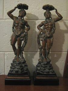 Mid Century Nubian Blackamoor Statues - Lamp Bases - Hand Painted Pair - Vintage