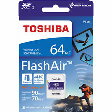 Toshiba 64GB Wi-Fi Wireless LAN FlashAir W-04 SDXC SD 90MB/s Camera Memory Card