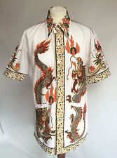 RARE! Vtg 50s 60s Lion Brand Java Batik Shirt Large Collar Chest 38 Rockabilly
