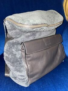 Whistles Verity Backpack  Leather & Sheepskin RRP: £280 Rare Design Grey