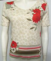 NEW LADIES TUNIC TOP SIZE 8 MARKS & SPENCER STONE MIX FLORAL PRINT 100% COTTON