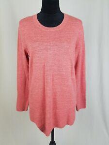 LOGO by Lori Goldstein women M pink cotton slub knit sweater w/angled rib hem