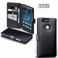 Real Genuine Hand Crafted Leather Black Wallet Original Case for Huawei P9 Plus