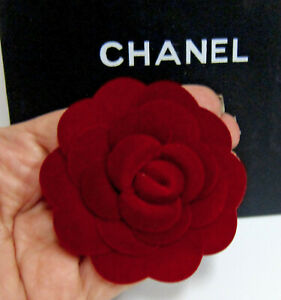 "Authentic CHANEL VIP Red Camellia Flower 3"" with bag brooch/pin"