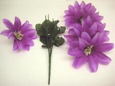 """6 Bushes LAVENDER Dahlia 6 Artificial Silk Flowers 14"""" Bouquet 627LV"""